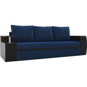 Прямой диван АртМебель Майами велюр синий/экокожа черный