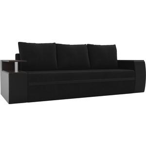 Прямой диван АртМебель Майами велюр черный/экокожа черный