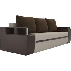 Прямой диван АртМебель Майами микровельвет бежевый/экокожа коричневый подушки