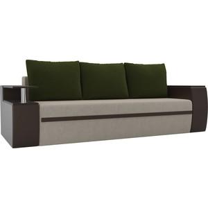 Прямой диван АртМебель Майами микровельвет бежевый/экокожа коричневый подушки зеленый