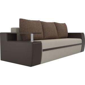 Прямой диван АртМебель Майами микровельвет бежевый/экокожа коричневый подушки рогожка коричневый фото