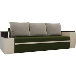 Прямой диван АртМебель Майами микровельвет зеленый/экокожа бежевый