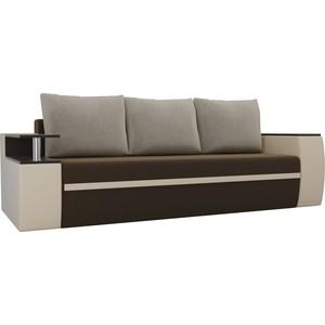 Прямой диван АртМебель Майами микровельвет коричневый/экокожа бежевый подушки
