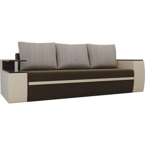 Прямой диван АртМебель Майами микровельвет коричневый/экокожа бежевый подушки корфу 02