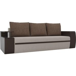 Прямой диван АртМебель Майами рогожка бежевый/экокожа коричневый
