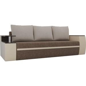 Прямой диван АртМебель Майами рогожка коричневый/экокожа бежевый