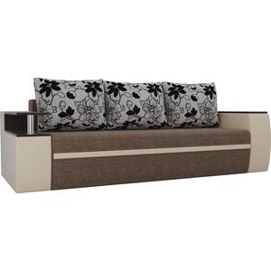 Прямой диван АртМебель Майами рогожка коричневый/экокожа бежевый подушки на флоке