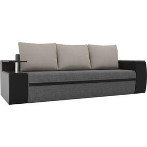 Прямой диван АртМебель Майами рогожка серый экокожа/черный подушки бежевый