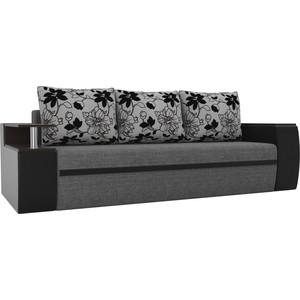 Прямой диван АртМебель Майами рогожка серый экокожа/черный подушки на флоке