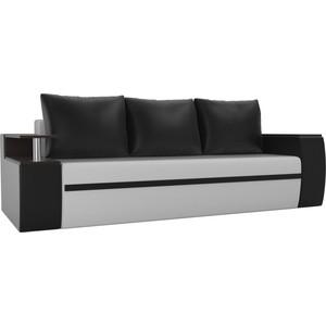 Прямой диван АртМебель Майами экокожа белый/черный