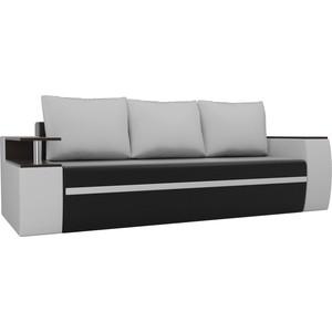 Прямой диван АртМебель Майами экокожа черный/белый