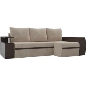 Угловой диван АртМебель Майами велюр бежевый/экокожа коричневый правый угол