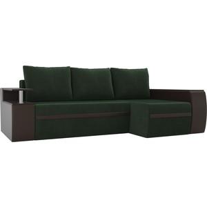 Угловой диван АртМебель Майами велюр зеленый/экокожа коричневый правый угол