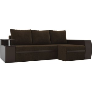 Угловой диван АртМебель Майами велюр коричневый/экокожа коричневый правый угол фото