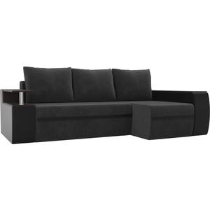 Угловой диван АртМебель Майами велюр серый/экокожа черный правый угол