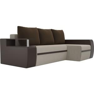 Угловой диван АртМебель Майами микровельвет бежевый/экокожа коричневый подушки микровельвет коричневый правый угол цена и фото