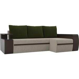 Угловой диван АртМебель Майами микровельвет бежевый/экокожа коричневый подушки микровельвет зеленый правый угол фото