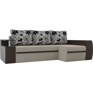 Угловой диван АртМебель Майами микровельвет бежевый/экокожа коричневый подушки рогожка на флоке правый угол