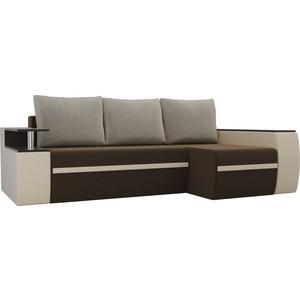 Угловой диван АртМебель Майами микровельвет коричневый/экокожа бежевый подушки правый угол