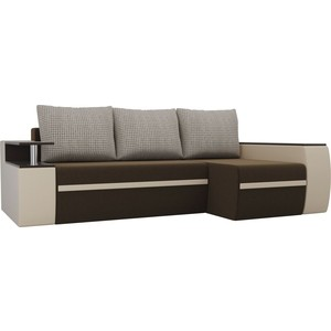 Угловой диван АртМебель Майами микровельвет коричневый/экокожа бежевый подушки корфу 02 правый угол