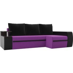 Угловой диван АртМебель Майами микровельвет фиолетовый/экокожа черный правый угол угловой диван артмебель майами экокожа белый черный правый угол