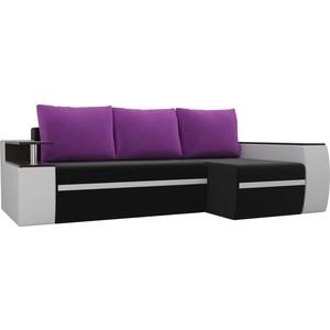 Угловой диван АртМебель Майами микровельвет черный/экокожа белый подушки фиолетовый правый угол
