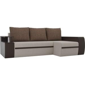 Угловой диван АртМебель Майами рогожка бежевый/экокожа коричневый подушки правый угол