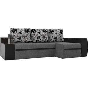 Угловой диван АртМебель Майами рогожка серый/экокожа черный подушки на флоке правый угол
