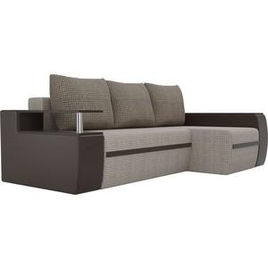 Угловой диван АртМебель Майами корфу 02/экокожа коричневый правый угол
