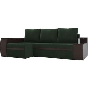 Угловой диван АртМебель Майами велюр зеленый/экокожа коричневый левый угол