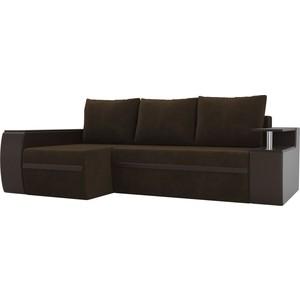 Угловой диван АртМебель Майами велюр коричневый/экокожа коричневый левый угол
