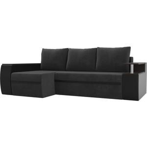 Угловой диван АртМебель Майами велюр серый/экокожа черный левый угол