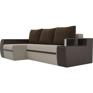 Угловой диван АртМебель Майами микровельвет бежевый/экокожа коричневый подушки левый угол