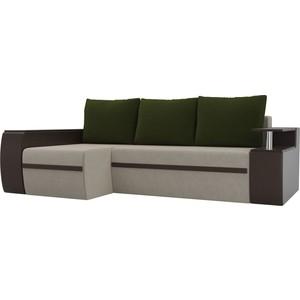 Угловой диван АртМебель Майами микровельвет бежевый/экокожа коричневый подушки зеленый левый угол