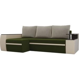 Угловой диван АртМебель Майами микровельвет зеленый/экокожа бежевый левый угол