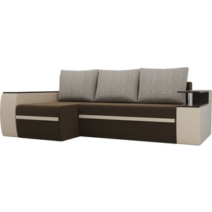 Угловой диван АртМебель Майами микровельвет коричневый/экокожа бежевый подушки корфу 02 левый угол