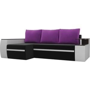 Угловой диван АртМебель Майами микровельвет черный/экокожа белый подушки микровельвет фиолетовый левый угол