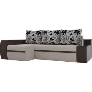 Угловой диван АртМебель Майами рогожка бежевый экокожа коричневый подушки на флоке левый угол