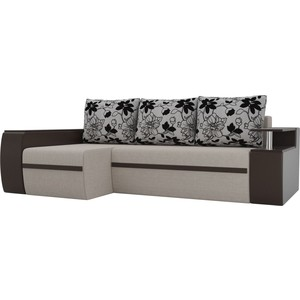 Угловой диван АртМебель Майами рогожка коричневый экокожа коричневый подушки рогожка на флоке левый угол фото