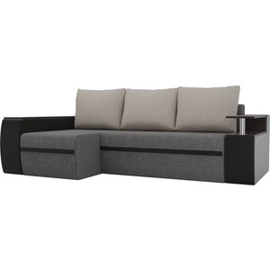 Угловой диван АртМебель Майами рогожка серый экокожа черный подушки бежевый левый угол