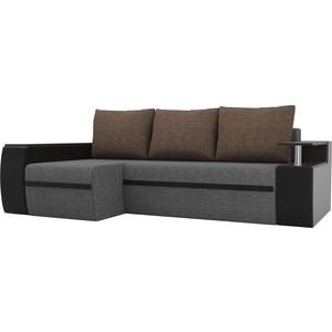 Угловой диван АртМебель Майами рогожка серый экокожа черный подушки коричневый левый угол