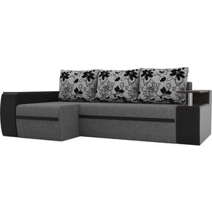Угловой диван АртМебель Майами рогожка серый экокожа черный подушки на флоке левый угол