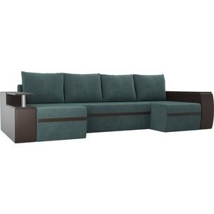 П-образный диван АртМебель Майами велюр бирюза экокожа коричневый