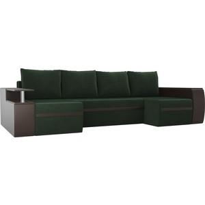 П-образный диван АртМебель Майами велюр зеленый экокожа коричневый