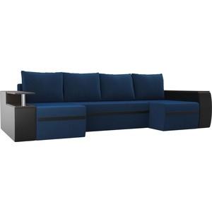 П-образный диван АртМебель Майами велюр синий экокожа черный