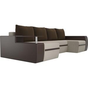 П-образный диван АртМебель Майами микровельвет бежевый экокожа коричневый подушки микровельвет коричневый фото