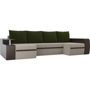 П-образный диван АртМебель Майами микровельвет бежевый экокожа коричневый подушки зеленый