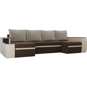П-образный диван АртМебель Майами микровельвет коричневый экокожа бежевый подушки