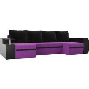 П-образный диван АртМебель Майами микровельвет фиолетовый экокожа черный