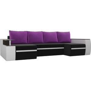 П-образный диван АртМебель Майами микровельвет черный экокожа белый подушки фиолетовый